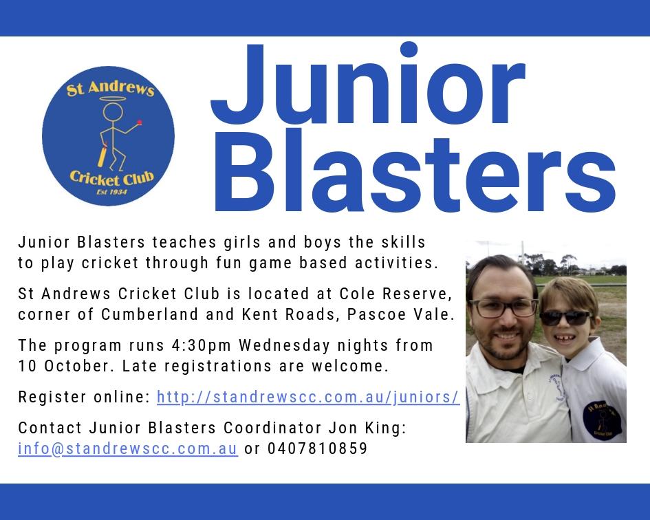 Junior Blasters flyer 2018