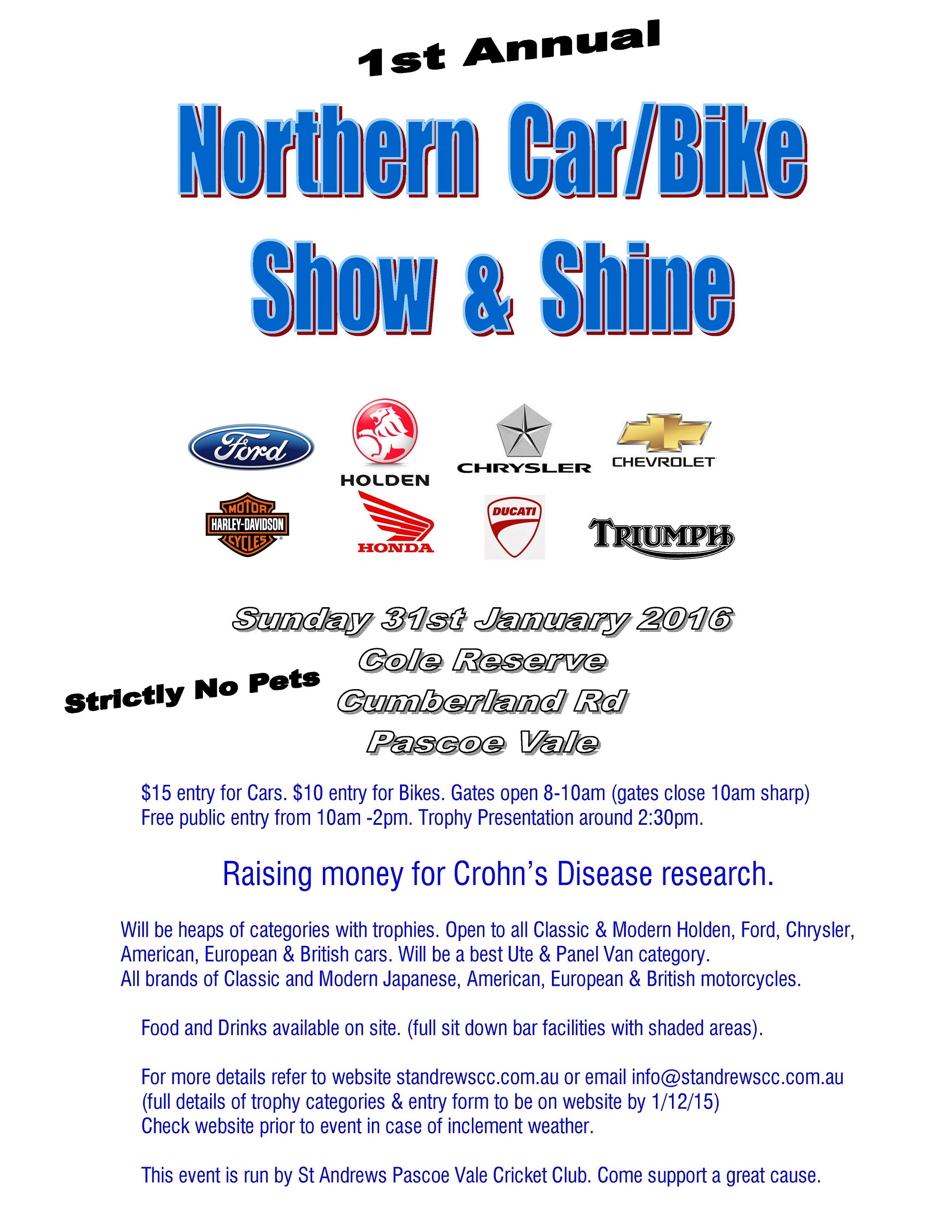 St Annual Northern CarBike Show Shine St Andrews Cricket Club - Car show trophy categories