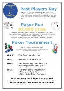 Past Players Day and Poker Night flyer